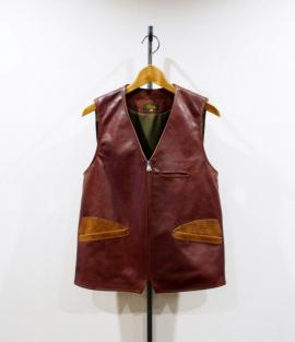 LEATHER VEST <HORSE-HIDE>