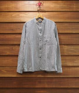 BAND COLLAR STRIPE SHIRTS [BK]