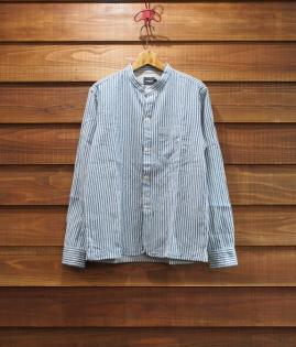 BAND COLLAR STRIPE SHIRTS [BL]