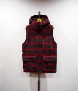 HOODED VEST<WOOL CHECK>